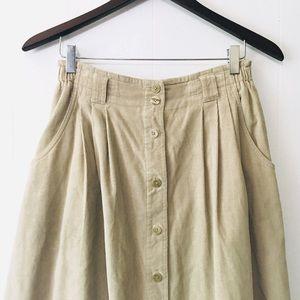 • vintage tan corduroy liz midi skirt •